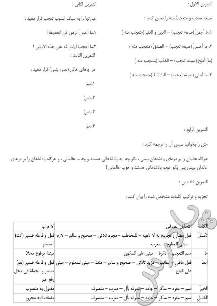 حل تمرینات درس 13 عربی سوم انسانی
