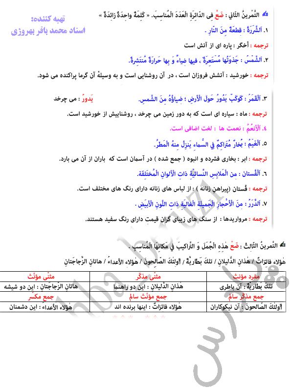 حل تمرین درس 1 عربی دهم(2و3)