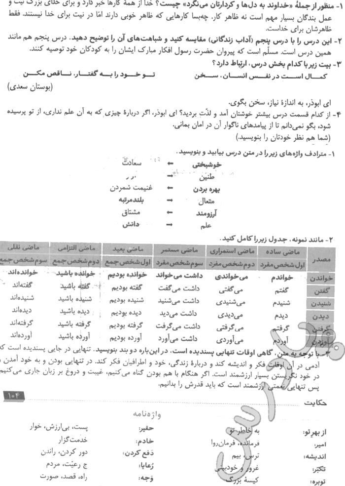 جواب خودارزیابی و نوشتن درس 12 فارسی نهم
