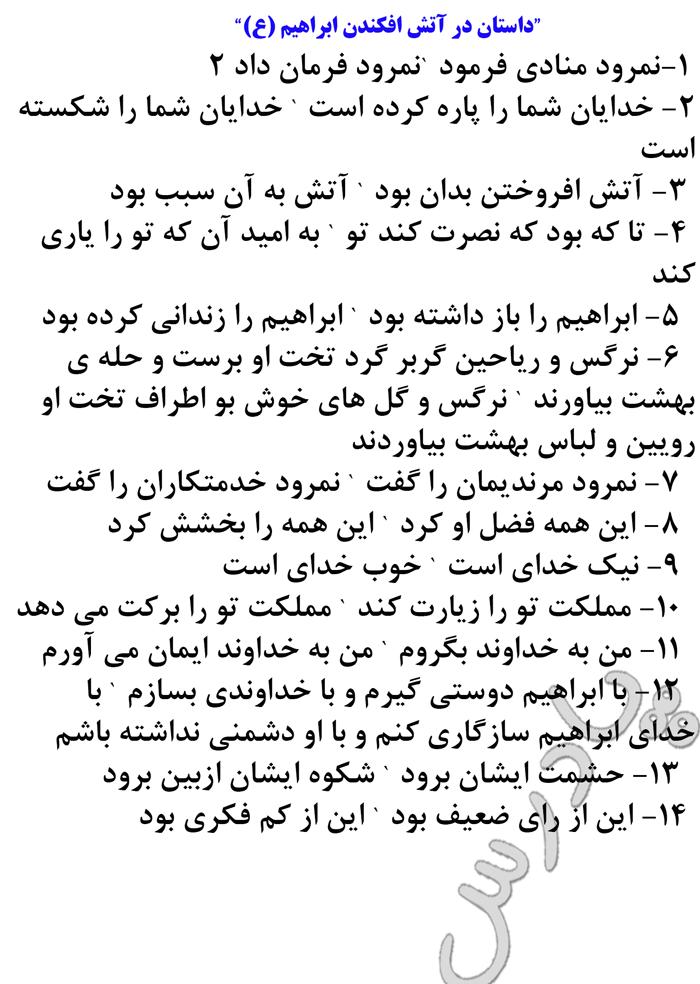 معنی داستان در آتش افکندن ابراهیم (ع)  درس 6 ادبیات فارسی سوم انسانی