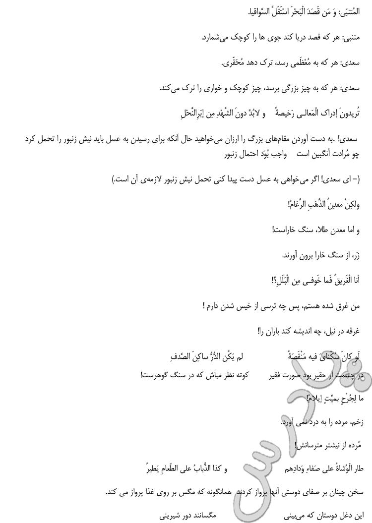 ادامه ترجمه درس 8 عربی سوم انسانی