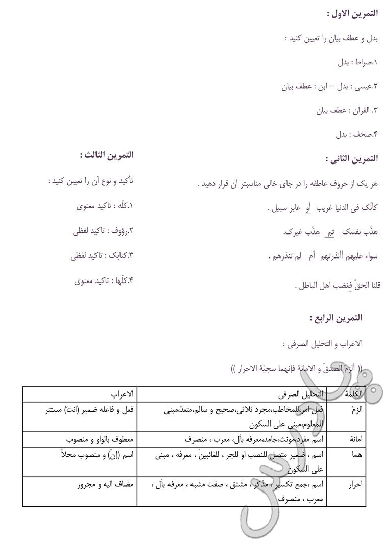 جواب تمرین های درس 8 عربی سوم انسانی