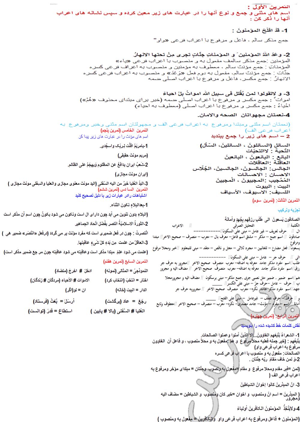 حل تمرینات درس 1 عربی پیش دانشگاهی انسانی