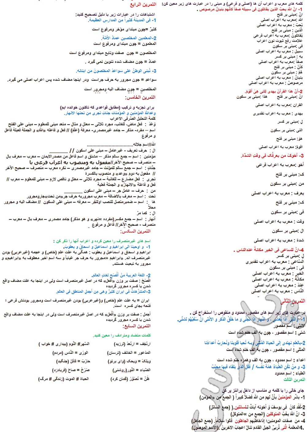 حل تمرینات درس 4 عربی پیش دانشگاهی انسانی