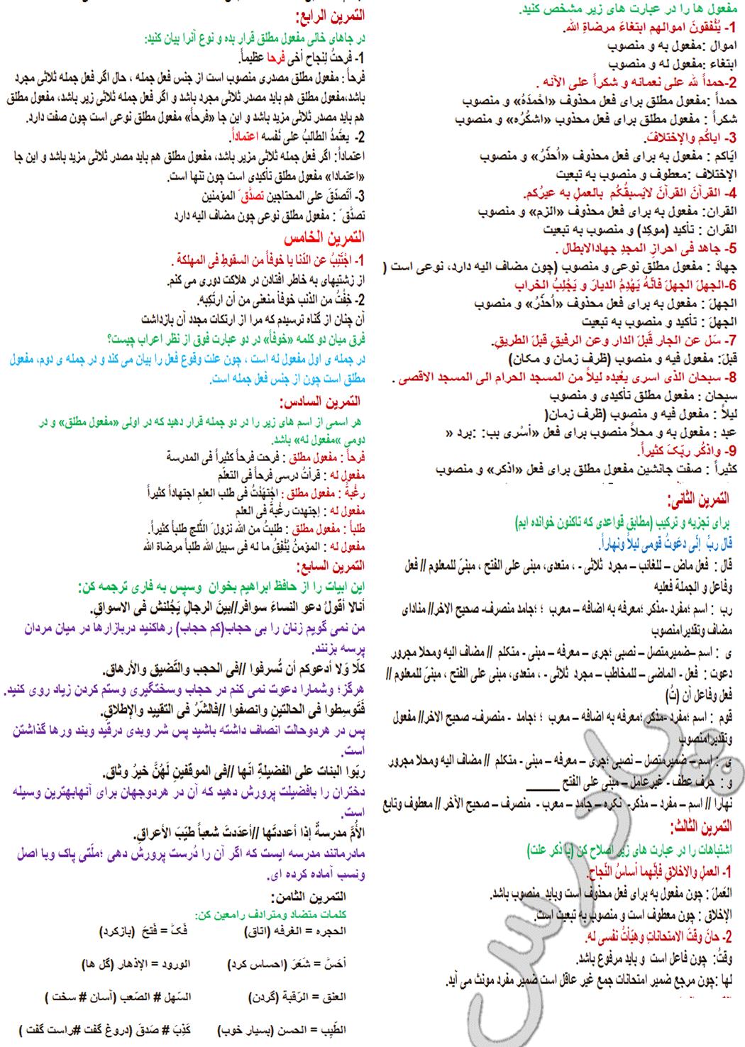 حل تمرینات درس 7 عربی پیش دانشگاهی انسانی