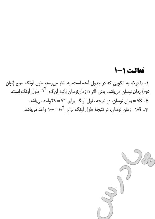 پاسخ فعالیت 1 فصل 1 ریاضی پایه  پیش دانشگاهی انسانی
