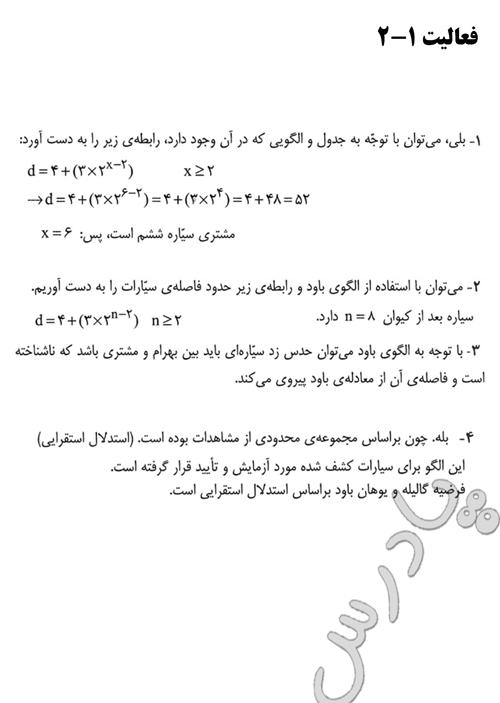 پاسخ فعالیت 2  فصل 1 ریاضی پایه پیش دانشگاهی انسانی