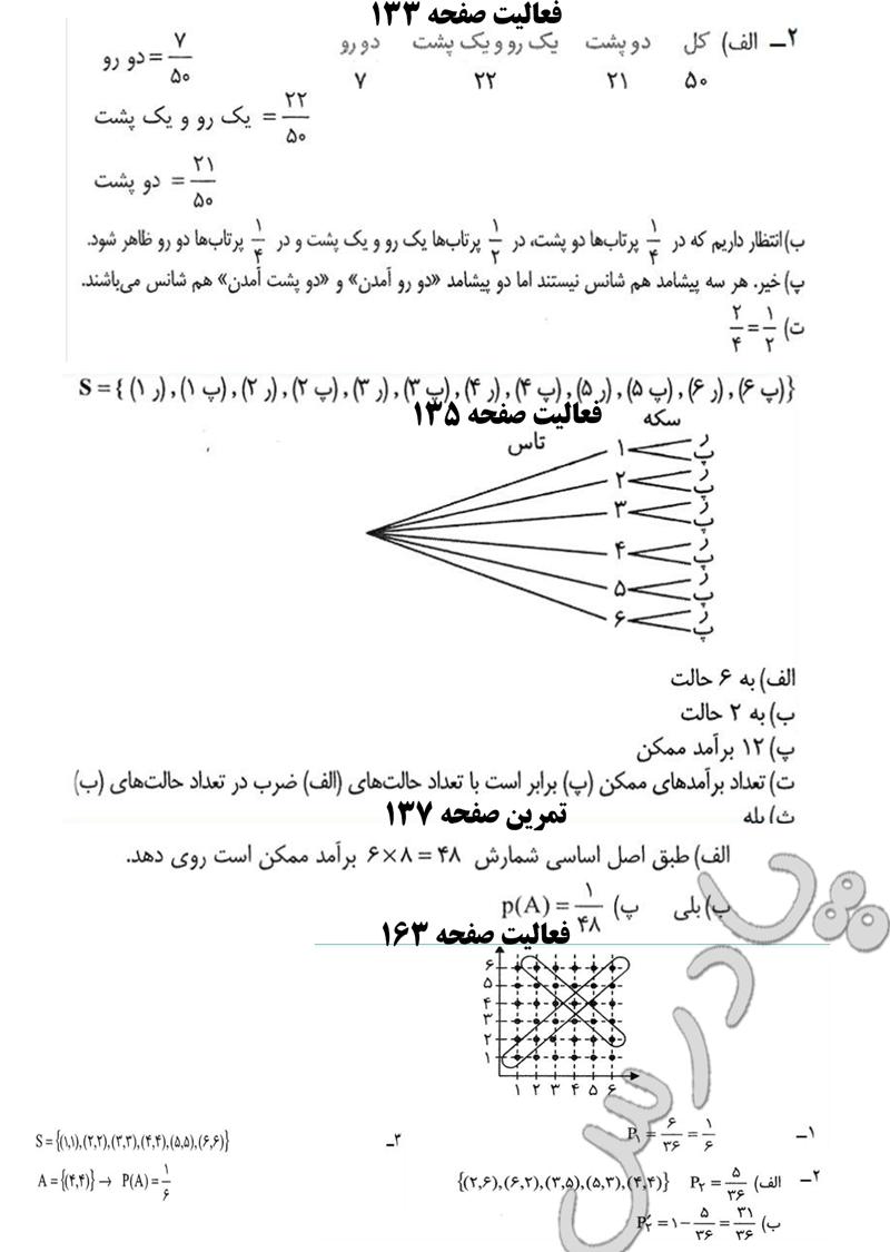 حل تمرین وفعالیت ص133تا163 ریاضی پایه پیش انسانی