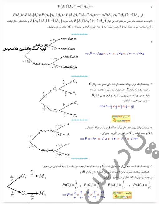 حل تمرین5تا9 صفحه 65 آمارواحتمال یازدهم