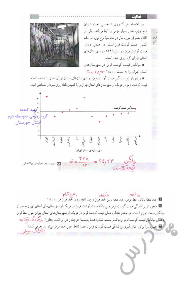 پاسخ فعالیت صفحه 93 آمارواحتمال یازدهم