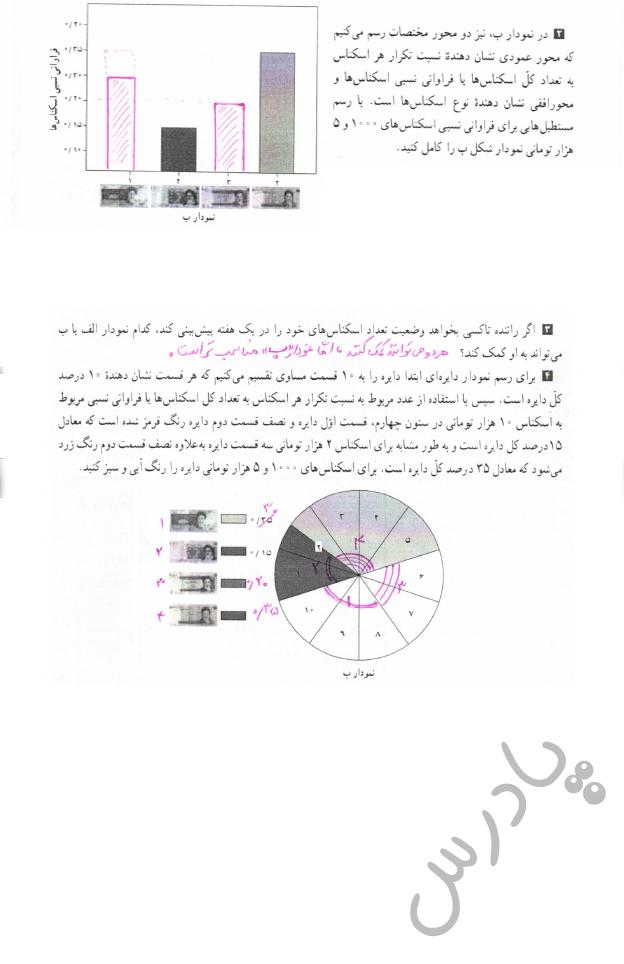ادامه پاسخ فعالیت صفحه 74 آمارواحتمال یازدهم