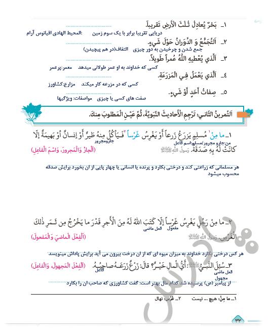 حل تمرین درس 3 عربی یازدهم