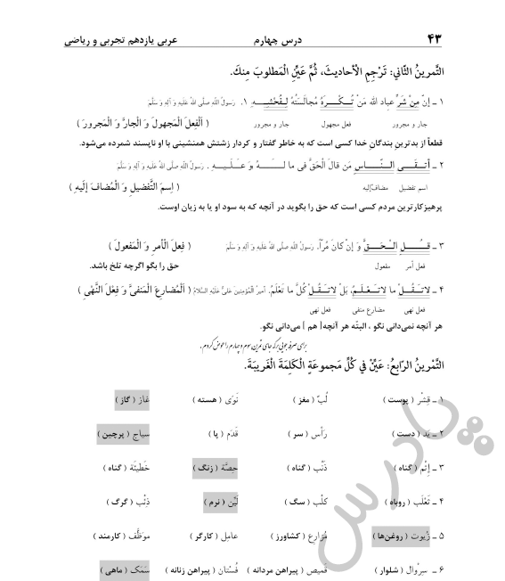 حل تمرین 2 و4  درس 4 عربی یازدهم