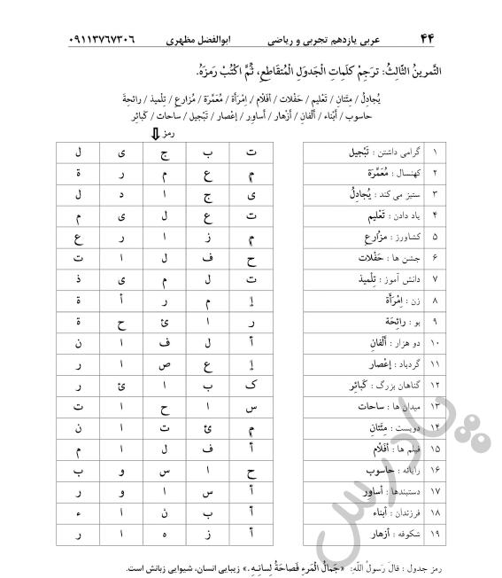 حل تمرین 3 درس4 عربی یازدهم
