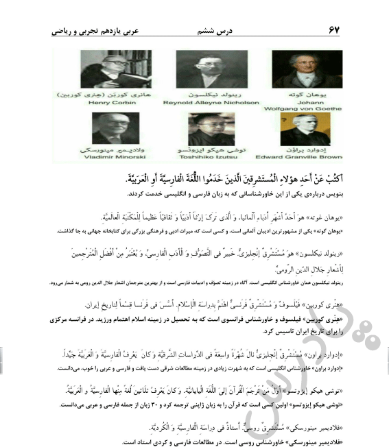حل تمرین آخر درس6 عربی یازدهم