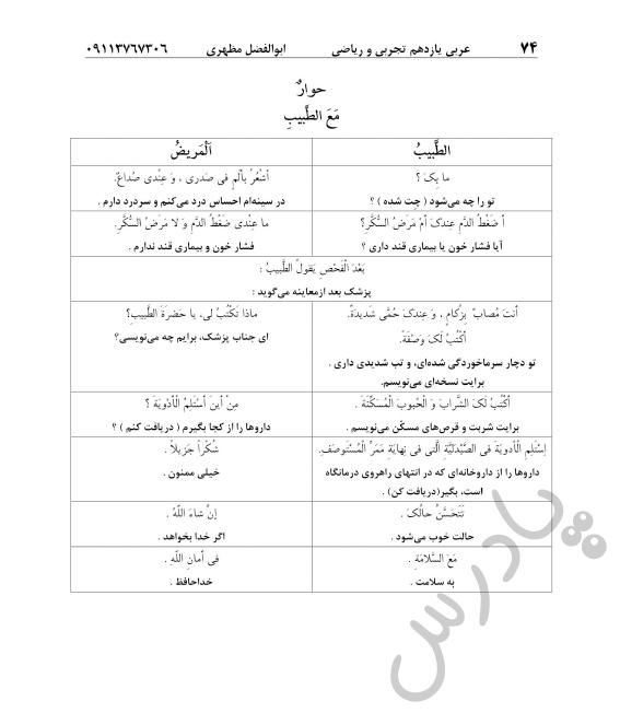 ترجمه مکالمه درس7 عربی یازدهم