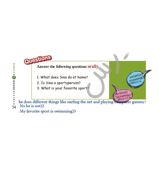 جواب سوالات Conversation درس 2 زبان یازدهم