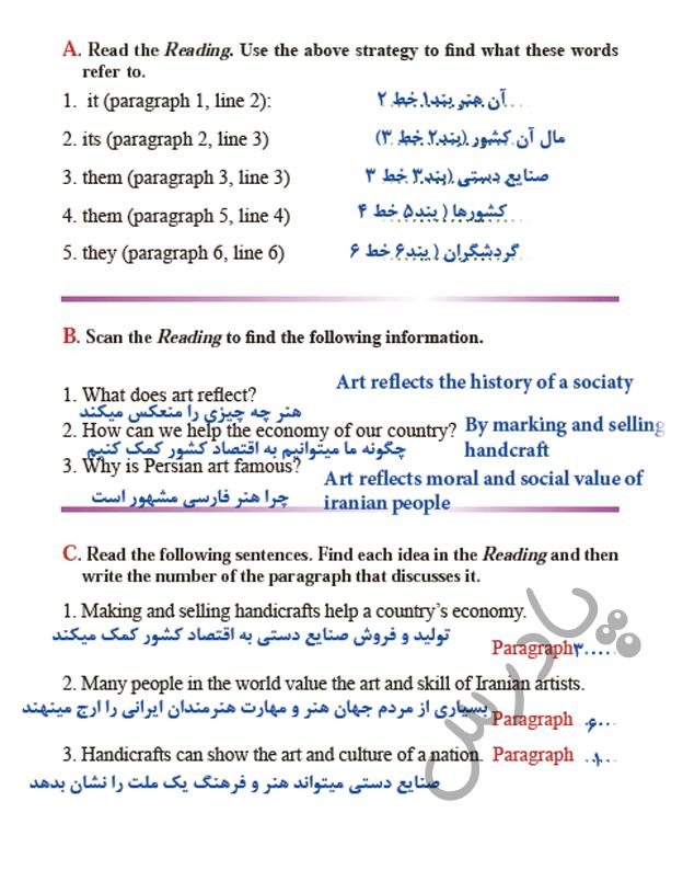 حل تمرینات ریدینگ درس3  زبان یازدهم