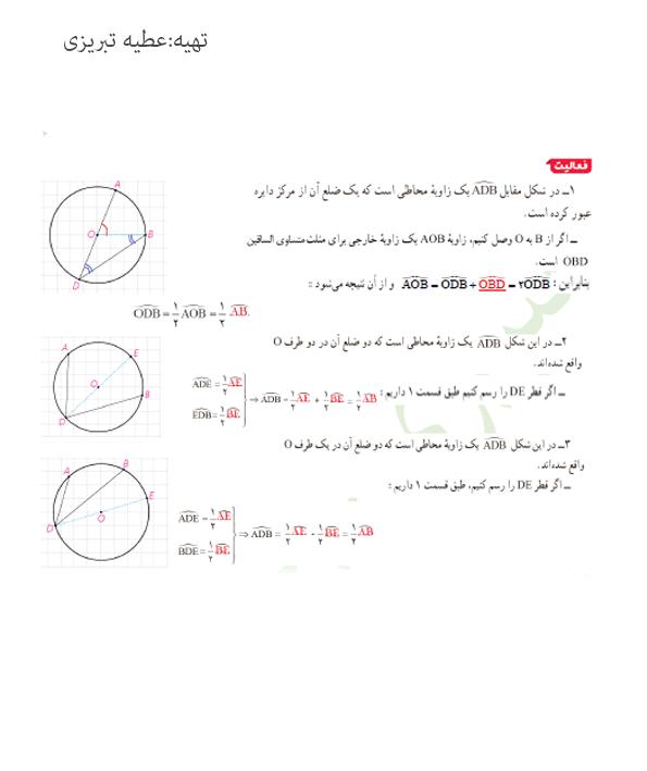 پاسخ فعالیت2 صفحه 13 هندسه یازدهم