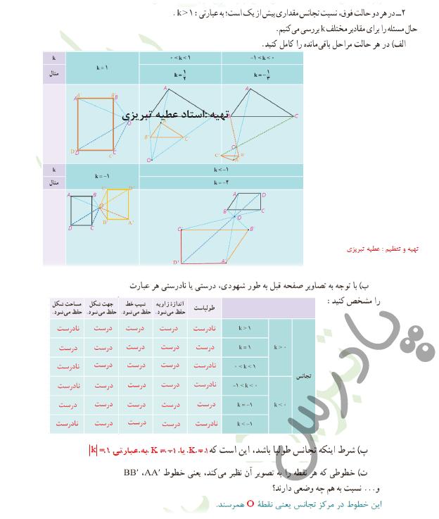 ادامه پاسخ فعالیت صفحه 46 هندسه یازدهم