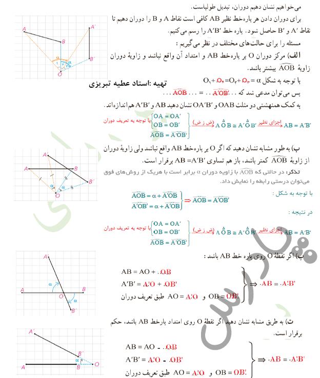 پاسخ فعالیت صفحه 42 هندسه یازدهم
