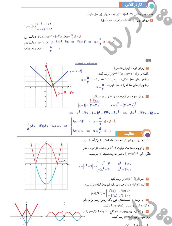 حل کاردرکلاس و فعالیت صفحه29 حسابان یازدهم