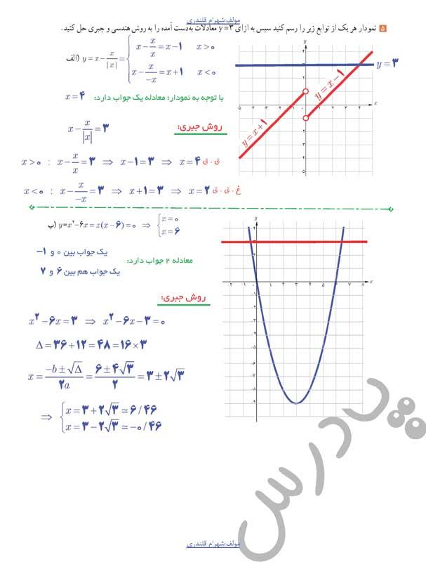 حل تمرین5 صفحه31 حسابان یازدهم