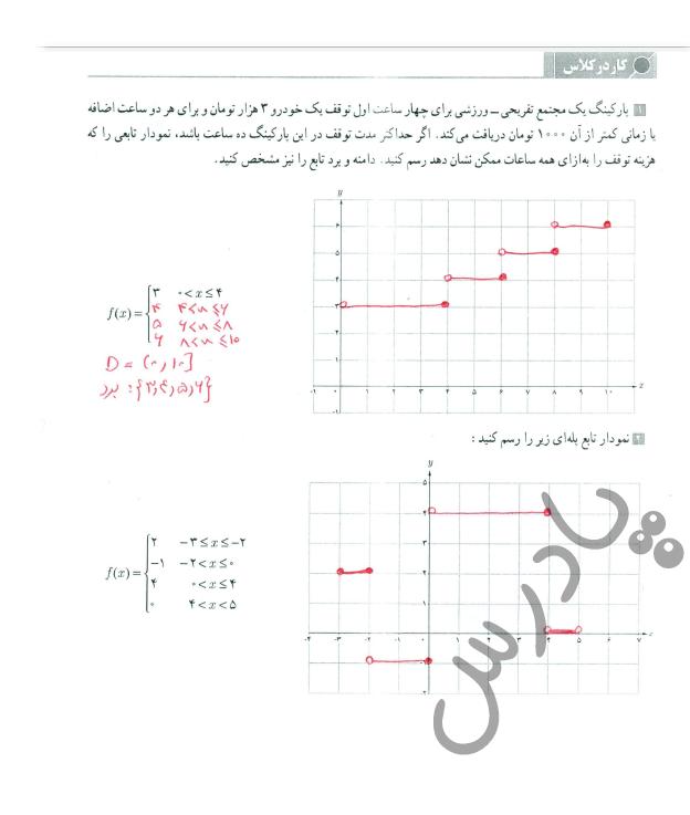 جواب کاردرکلاس صفحه 50 حسابان یازدهم