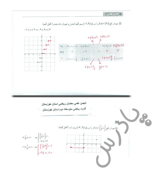 جواب کاردرکلاس صفحه 51 حسابان یازدهم