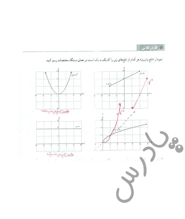 جواب کاردرکلاس صفحه 60 حسابان یازدهم
