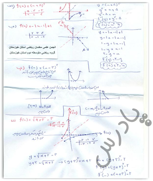 ادامه حل تمرین صفحه 62 حسابان یازدهم