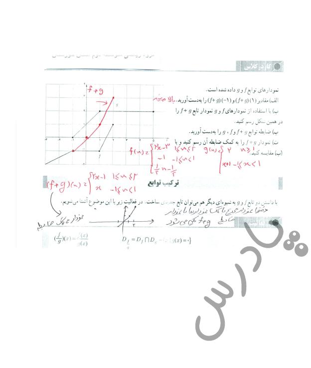 جواب کاردرکلاس صفحه 66 حسابان یازدهم