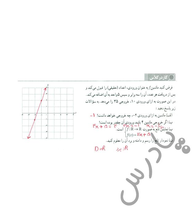 جواب کاردرکلاس صفحه 41 حسابان یازدهم