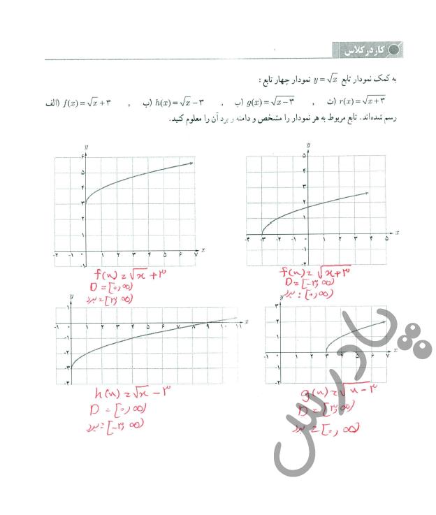 جواب کاردرکلاس صفحه 46 حسابان یازدهم