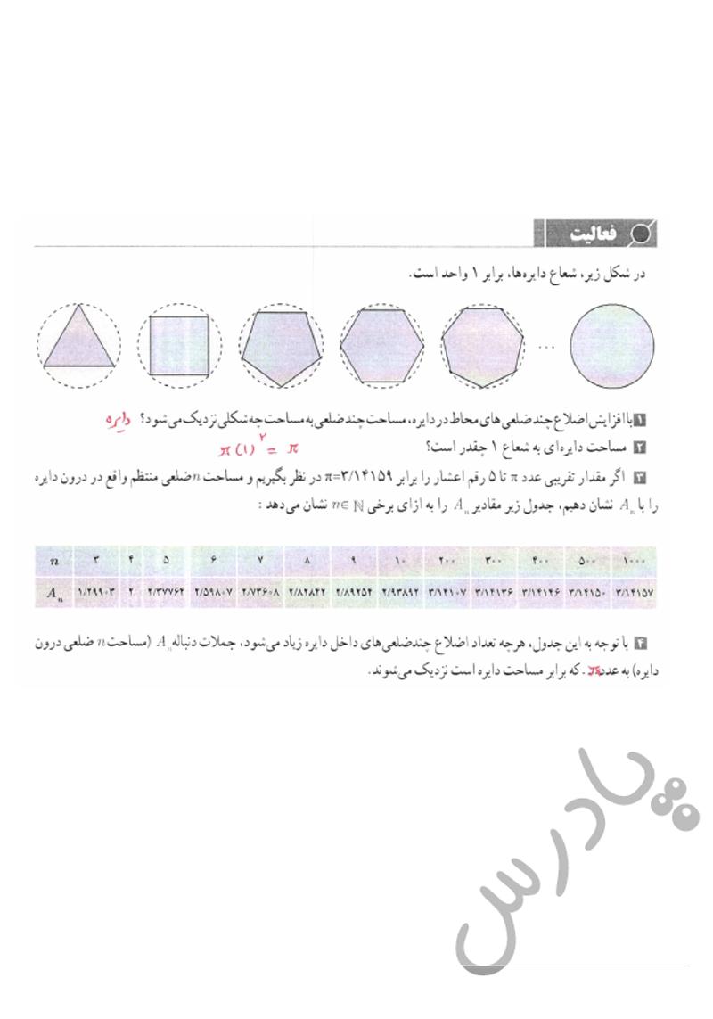 پاسخ فعالیت صفحه 114 حسابان یازدهم