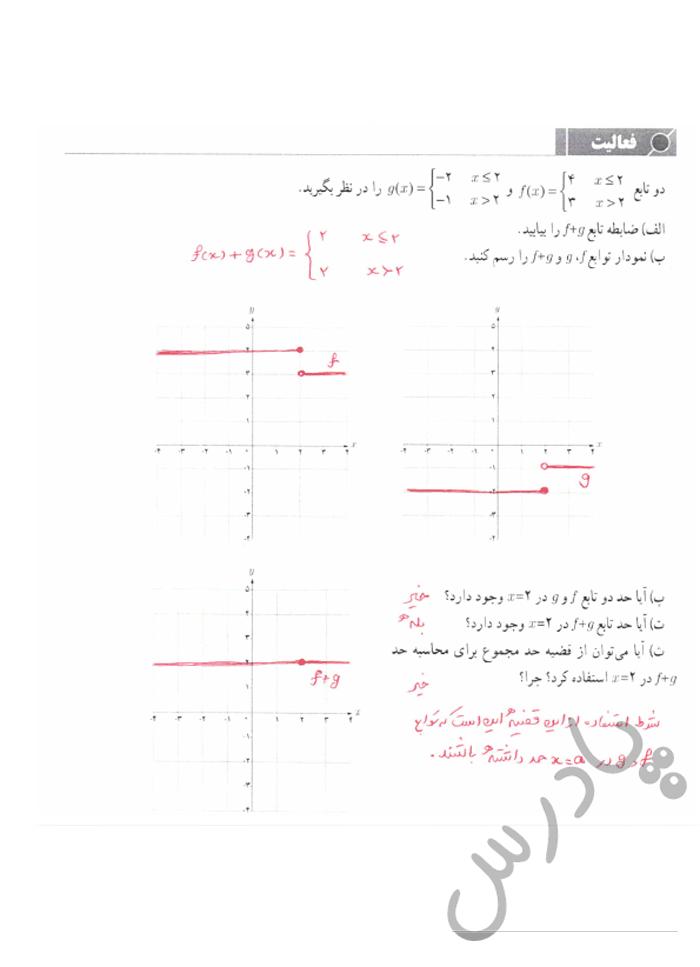 پاسخ فعالیت صفحه 135 حسابان یازدهم