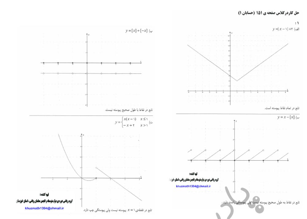 حل تمرین صفحه 151 حسابان یازدهم
