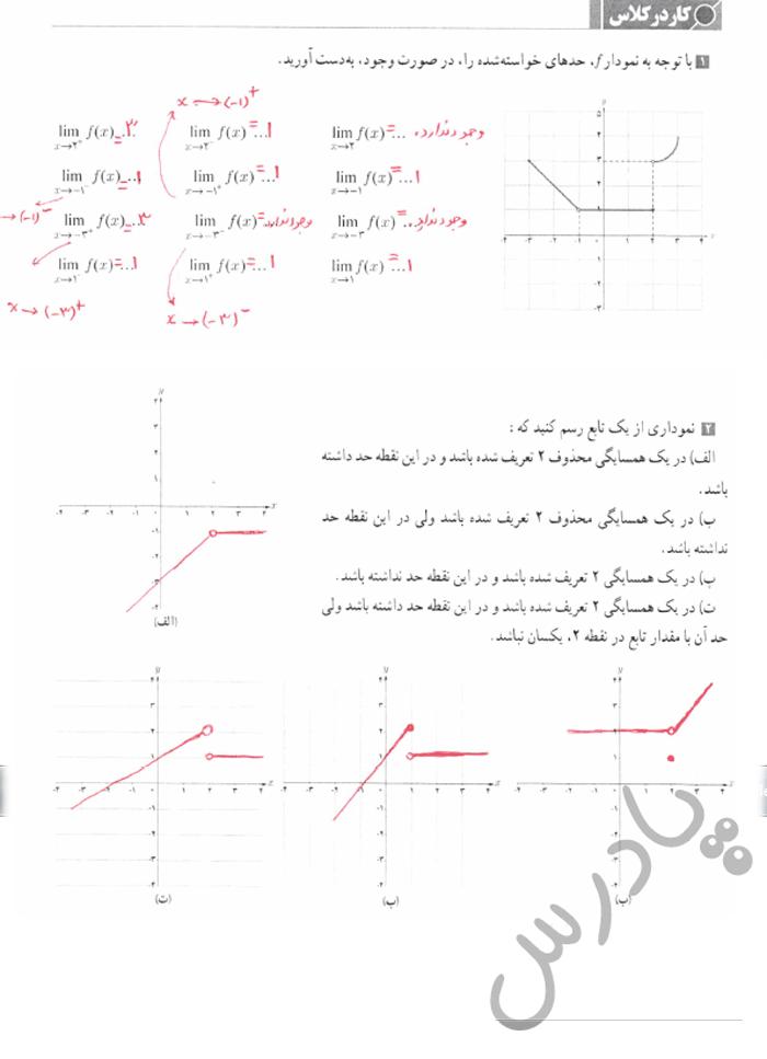 جواب کاردرکلاس صفحه 125 حسابان یازدهم