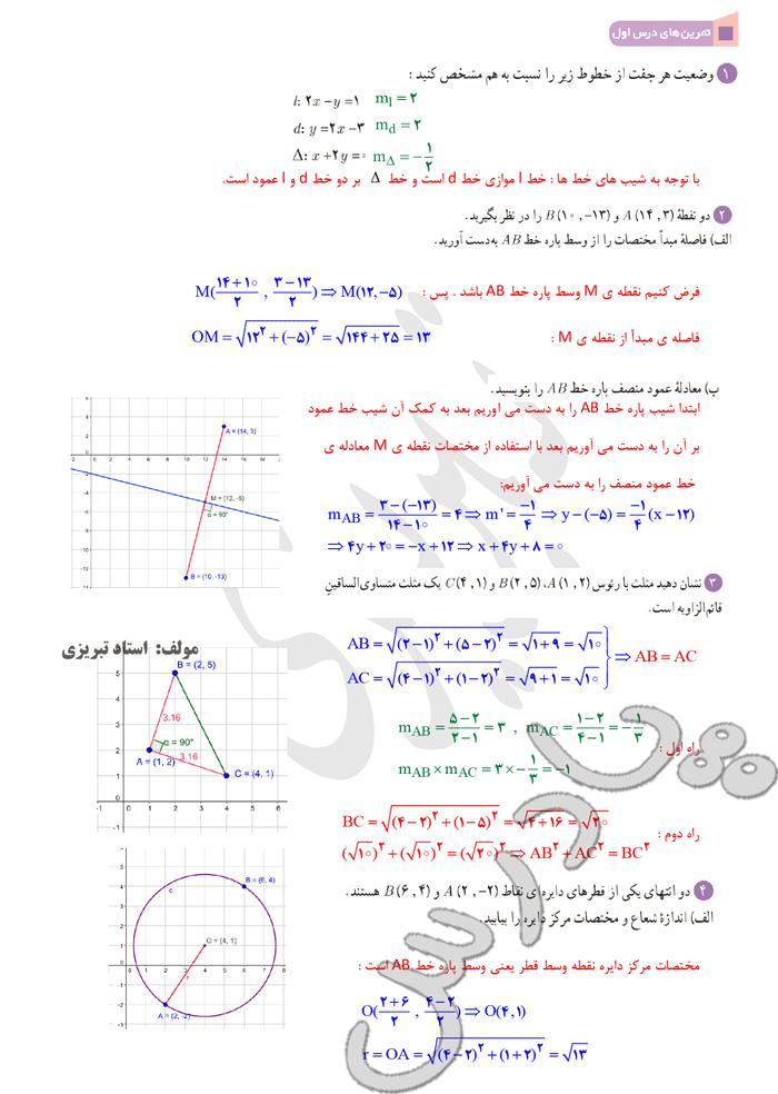 حل تمرین درس1 فصل اول ریاضی یازدهم