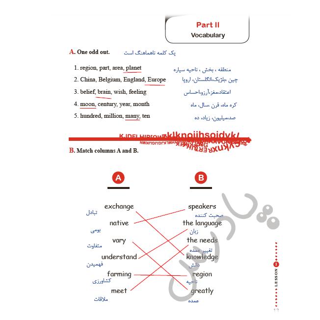 حل تمرین صفحه 13 کتاب کار زبان یازدهم