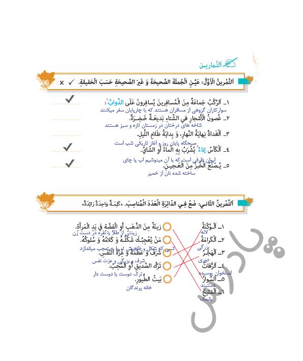 حل تمرین 1و2 درس 2 عربی یازدهم انسانی