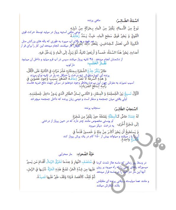 ادامه ترجمه درس 3 عربی یازدهم انسانی