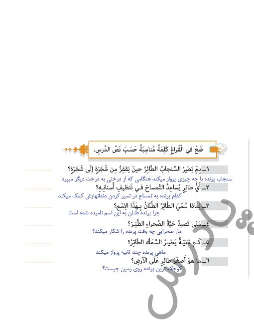 حل تمرین متن درس 3 عربی یازدهم انسانی