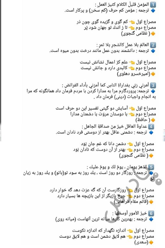 حل تمرین آخر درس6 عربی یازدهم انسانی