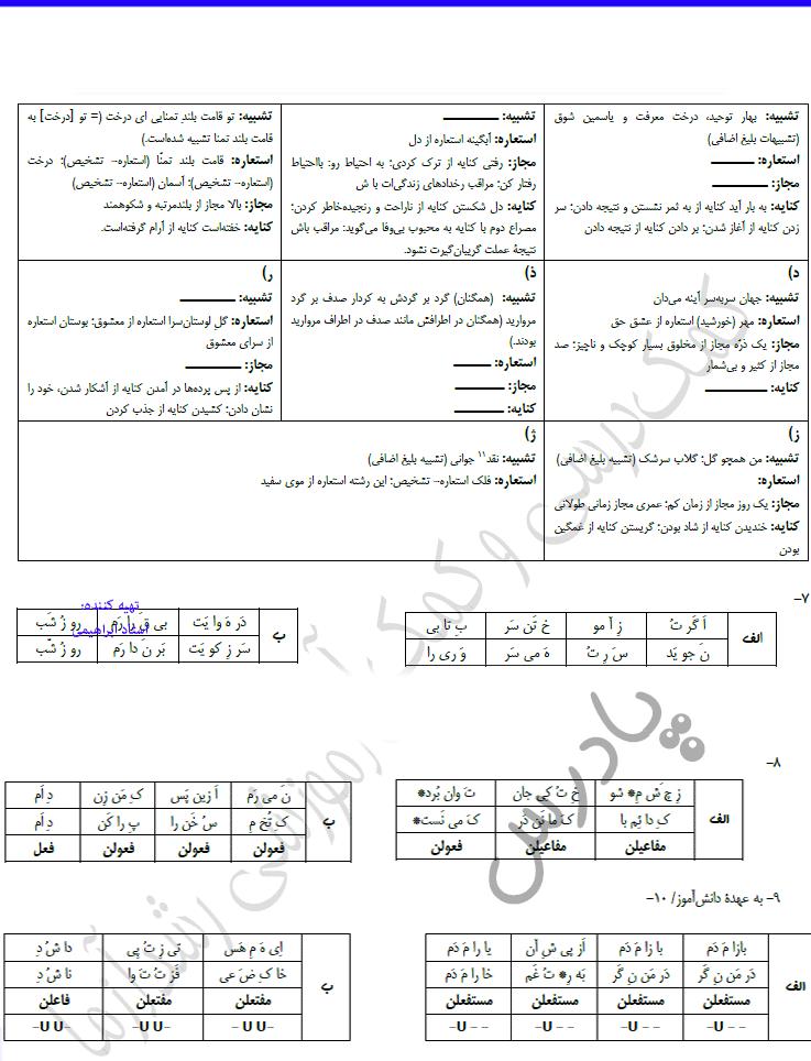 جواب خودارزیابی7تا9 علوم فنون یازدهم
