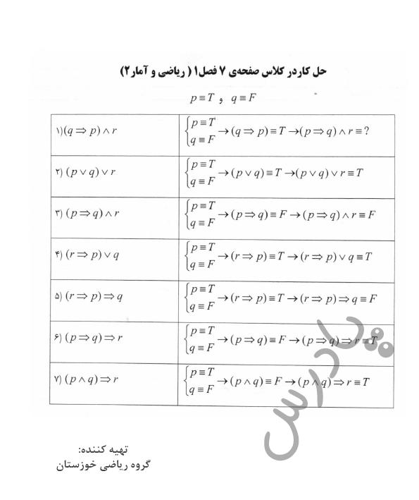 جواب کاردرکلاس صفحه 7 ریاضی یازدهم انسانی