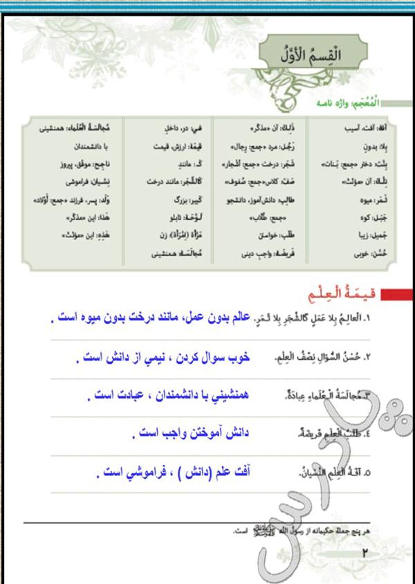 ترجمه بخش اول درس1  عربی هفتم