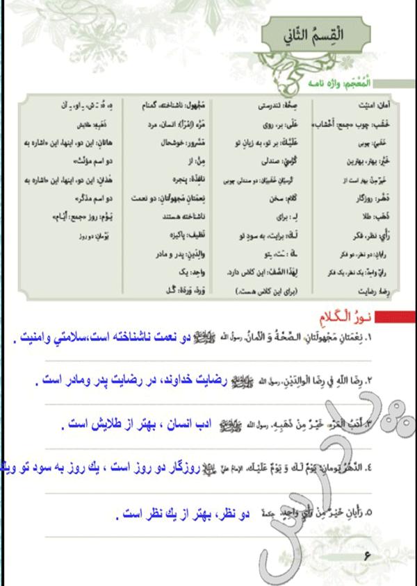 ترجمه نورالکلام درس 1 عربی هفتم