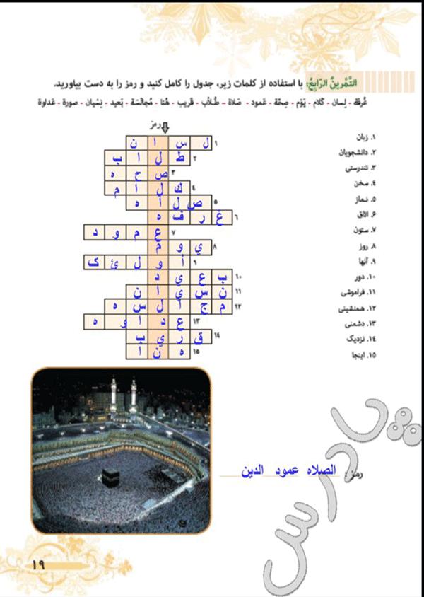 پاسخ تمرین چهارم درس2 عربی هفتم