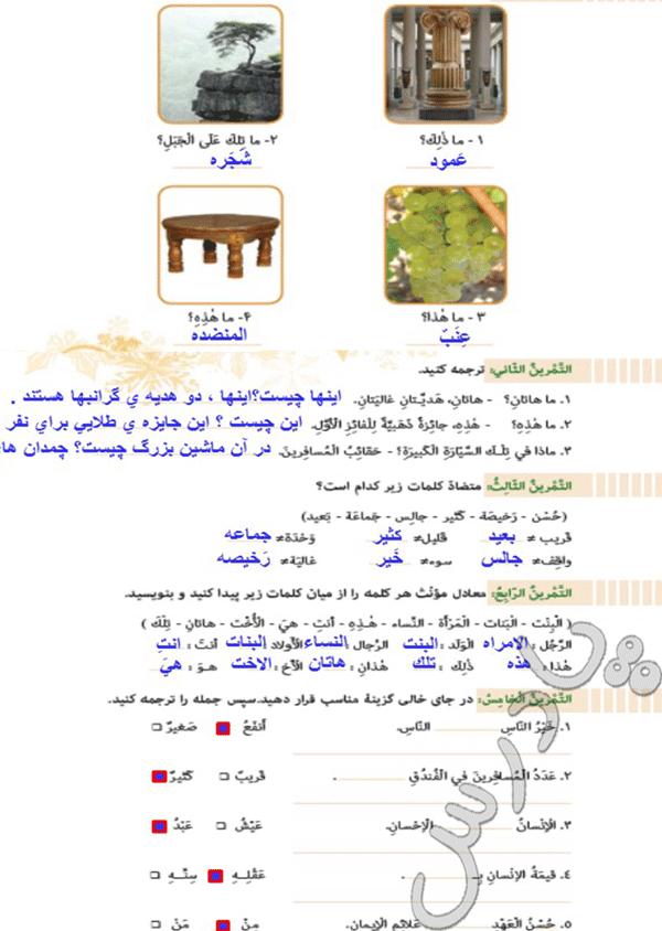 پاسخ تمرینهای بخش سوم درس 2 عربی هفتم
